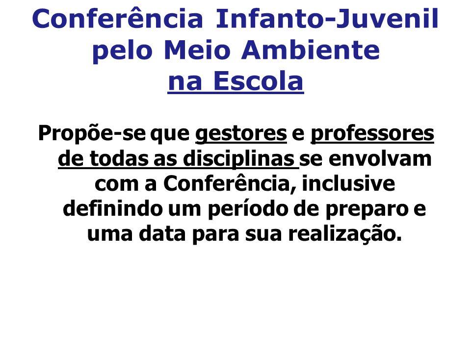 Conferência Infanto-Juvenil pelo Meio Ambiente na Escola Propõe-se que gestores e professores de todas as disciplinas se envolvam com a Conferência, i
