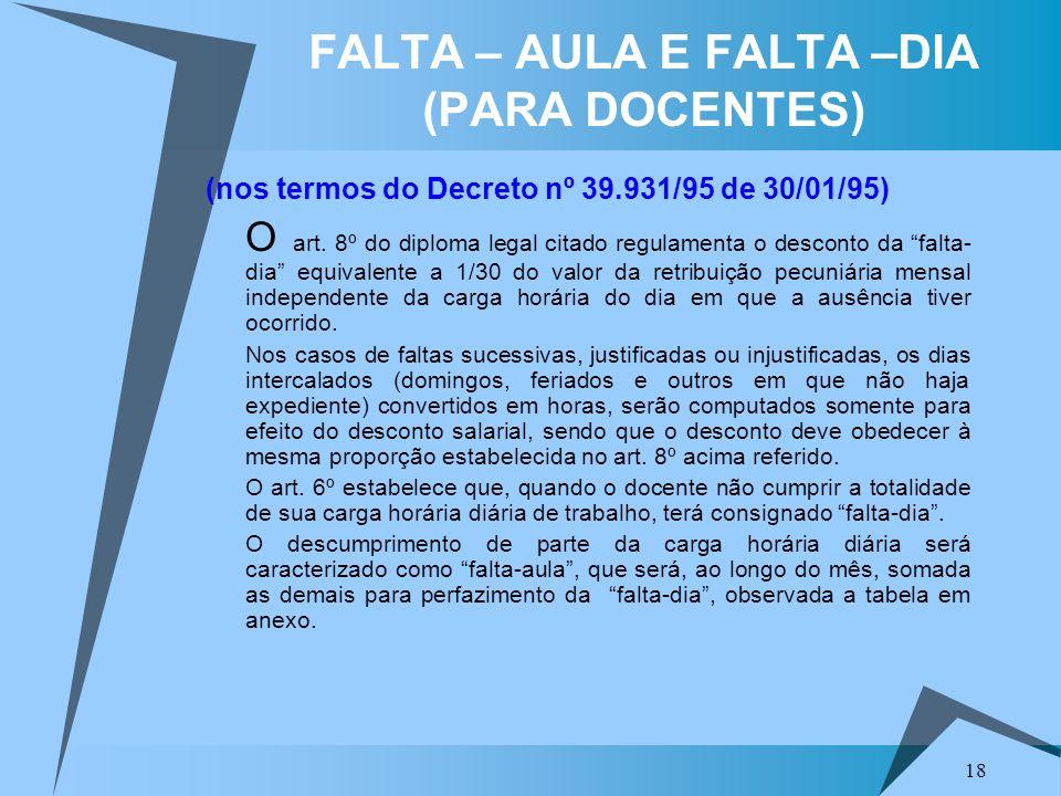 18 FALTA – AULA E FALTA –DIA (PARA DOCENTES) (nos termos do Decreto nº 39.931/95 de 30/01/95) O art. 8º do diploma legal citado regulamenta o desconto