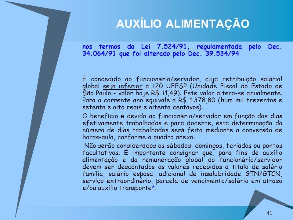 41 AUXÍLIO ALIMENTAÇÃO nos termos da Lei 7.524/91, regulamentada pelo Dec. 34.064/91 que foi alterado pelo Dec. 39.534/94 É concedido ao funcion á rio
