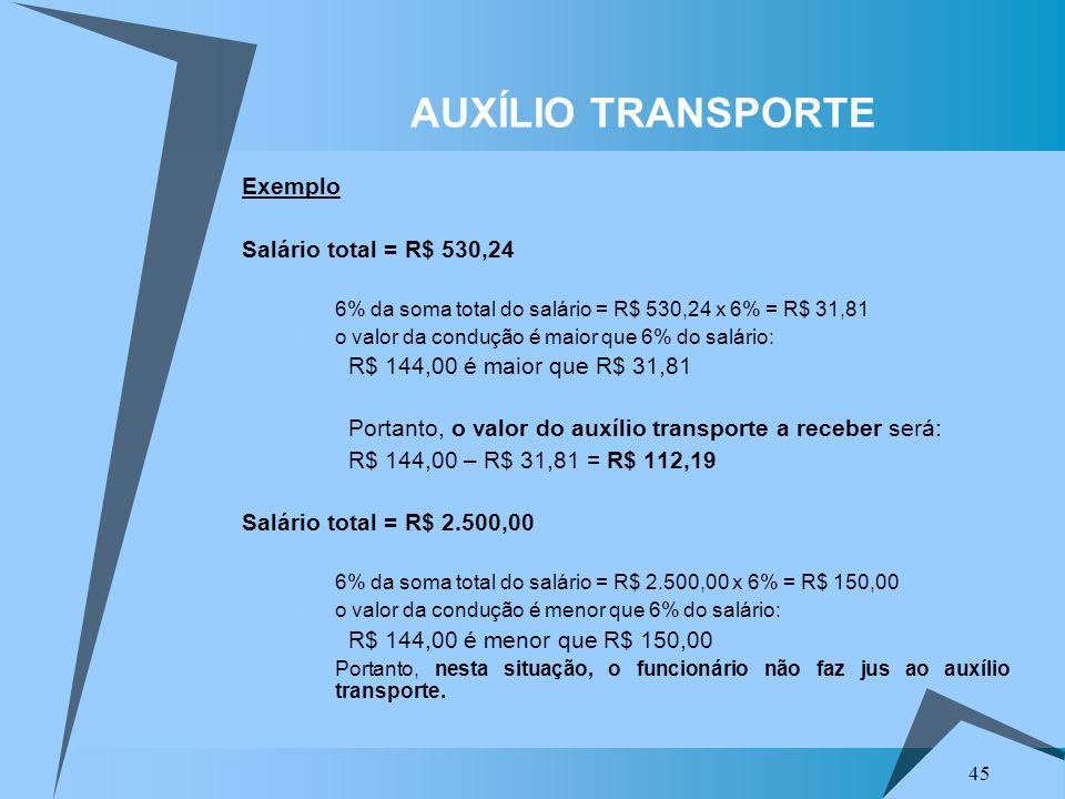 45 Exemplo Salário total = R$ 530,24 a) 6% da soma total do salário = R$ 530,24 x 6% = R$ 31,81 b) o valor da condução é maior que 6% do salário: R$ 1