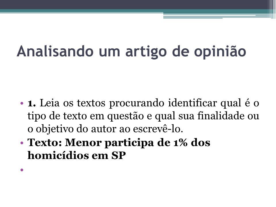 Analisando um artigo de opinião 1. Leia os textos procurando identificar qual é o tipo de texto em questão e qual sua finalidade ou o objetivo do auto