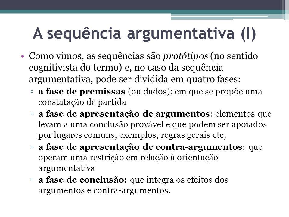 A sequência argumentativa (I) Como vimos, as sequências são protótipos (no sentido cognitivista do termo) e, no caso da sequência argumentativa, pode ser dividida em quatro fases: a fase de premissas (ou dados): em que se propõe uma constatação de partida a fase de apresentação de argumentos: elementos que levam a uma conclusão provável e que podem ser apoiados por lugares comuns, exemplos, regras gerais etc; a fase de apresentação de contra-argumentos: que operam uma restrição em relação à orientação argumentativa a fase de conclusão: que integra os efeitos dos argumentos e contra-argumentos.