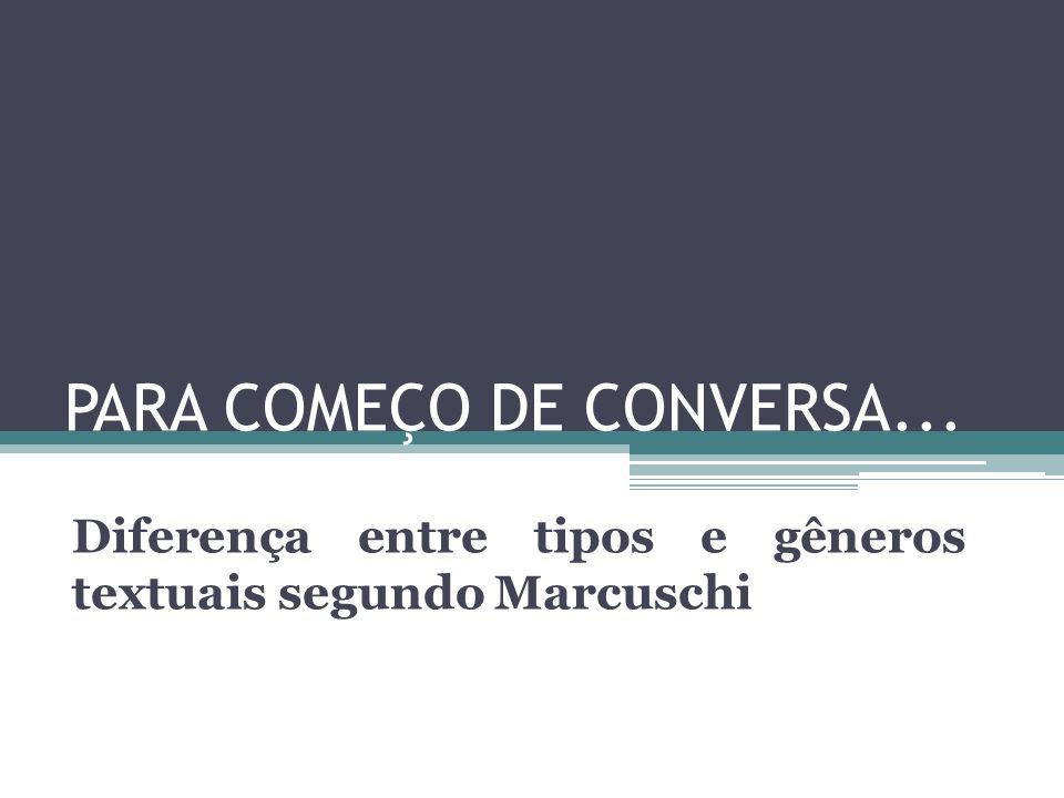 PARA COMEÇO DE CONVERSA... Diferença entre tipos e gêneros textuais segundo Marcuschi