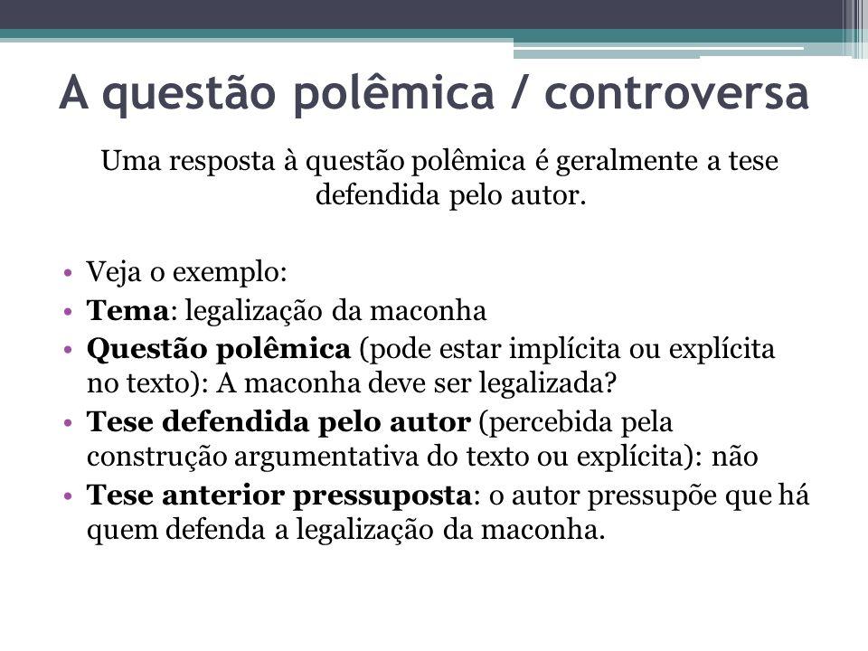 A questão polêmica / controversa Uma resposta à questão polêmica é geralmente a tese defendida pelo autor. Veja o exemplo: Tema: legalização da maconh