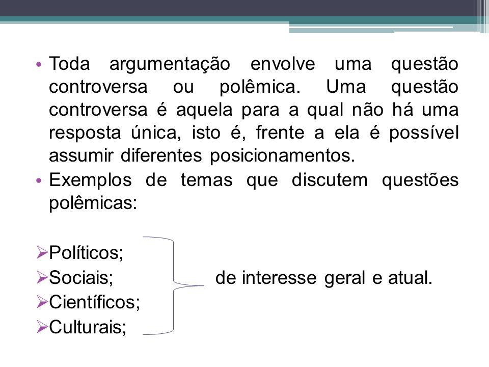 Toda argumentação envolve uma questão controversa ou polêmica.
