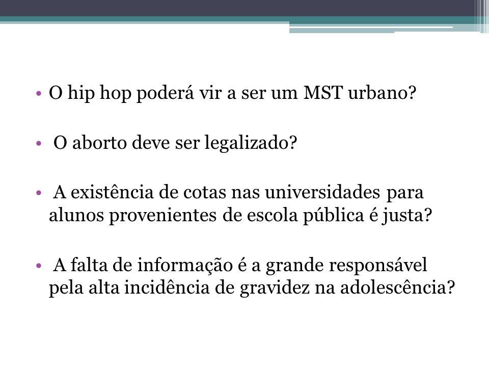 O hip hop poderá vir a ser um MST urbano? O aborto deve ser legalizado? A existência de cotas nas universidades para alunos provenientes de escola púb