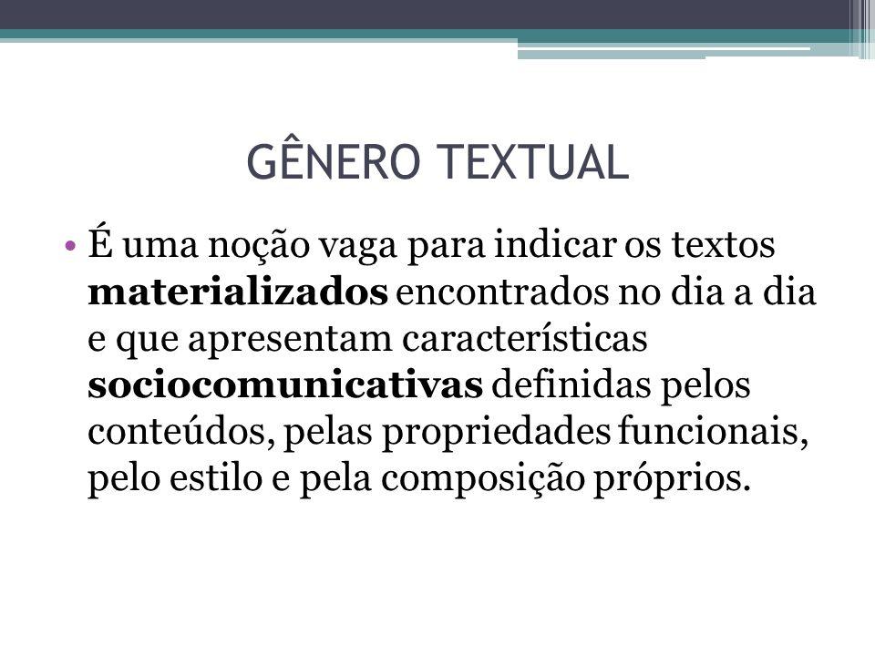 GÊNERO TEXTUAL É uma noção vaga para indicar os textos materializados encontrados no dia a dia e que apresentam características sociocomunicativas def