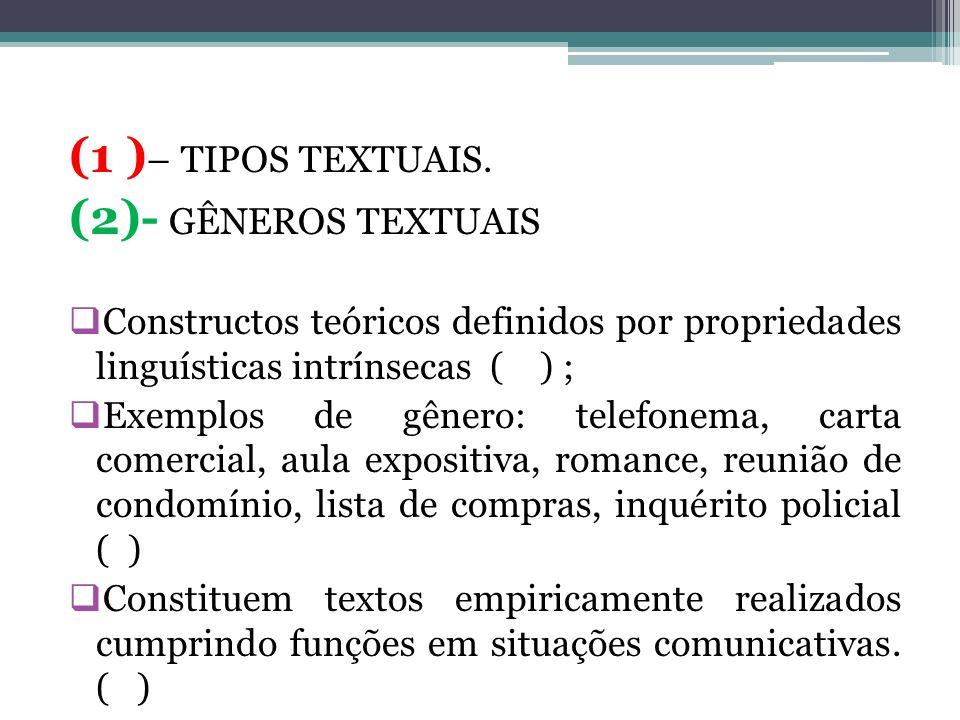 (1 ) – TIPOS TEXTUAIS. (2)- GÊNEROS TEXTUAIS Constructos teóricos definidos por propriedades linguísticas intrínsecas ( ) ; Exemplos de gênero: telefo