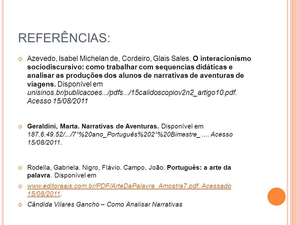 REFERÊNCIAS: Azevedo, Isabel Michelan de, Cordeiro, Glais Sales. O interacionismo sociodiscursivo: como trabalhar com sequencias didáticas e analisar