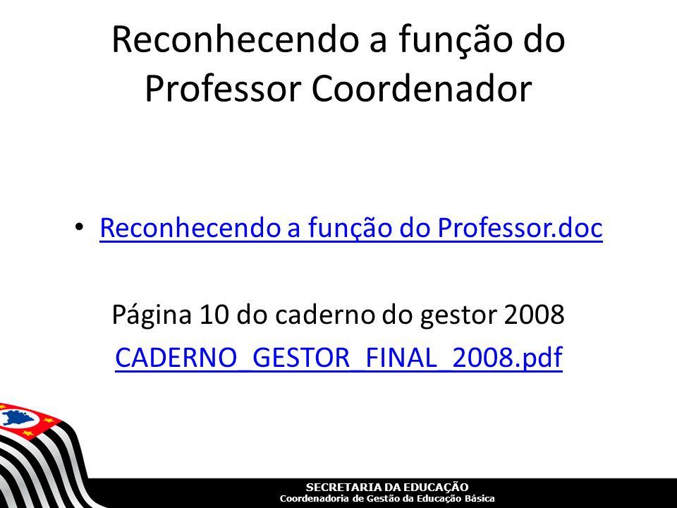 SECRETARIA DA EDUCAÇÃO Coordenadoria de Gestão da Educação Básica Reconhecendo a função do Professor Coordenador Reconhecendo a função do Professor.do