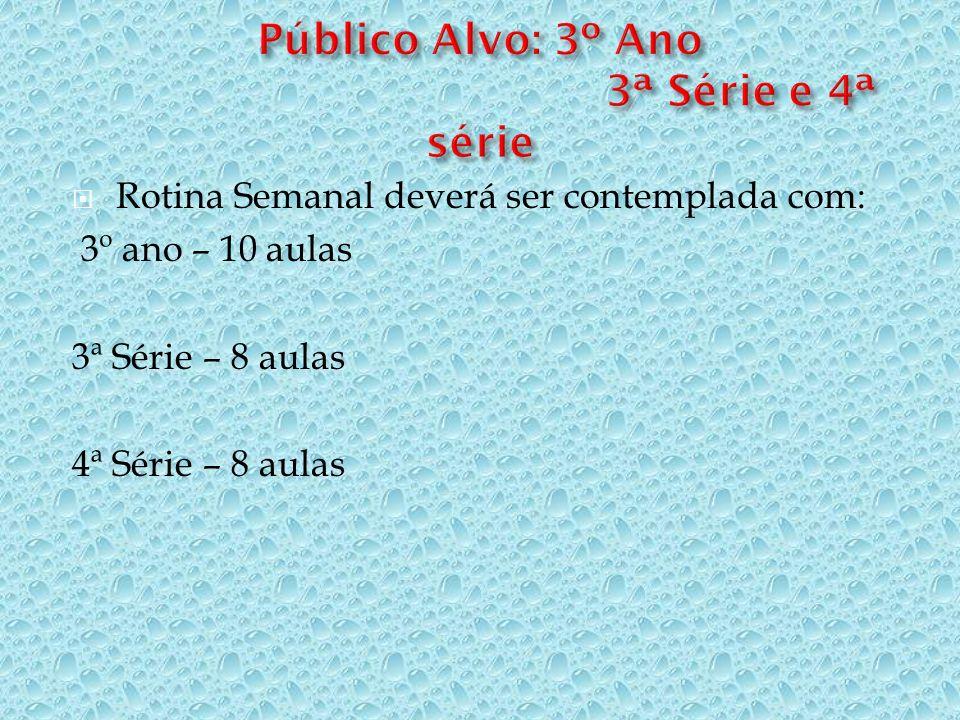 Rotina Semanal deverá ser contemplada com: 3º ano – 10 aulas 3ª Série – 8 aulas 4ª Série – 8 aulas