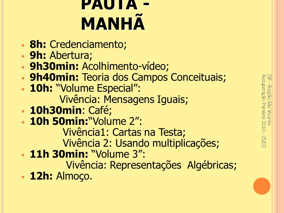 P AUTA - T ARDE 13h: Ler para Aprender Matemática; 13h30min: Ensino Médio: Vivência 1: Calculando probabilidade; 14h30min: Ensino Médio: Vivência 2: Estimação 15h30min: Café; 15h 50min: A Importância do Registro – Portifólio; 16h 10min: Fichas de Acompanhamento; 16h 30min: Avaliação do encontro; 16h50min: Encerramento e lista de presença.