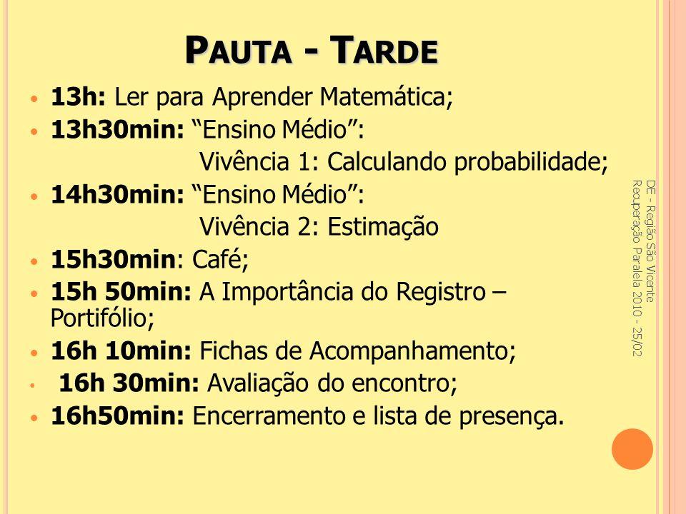 Oficina: A importância do Registro e Avaliação na Recuperação Paralela DE - Região São Vicente Recuperação Paralela 2010 - 25/02