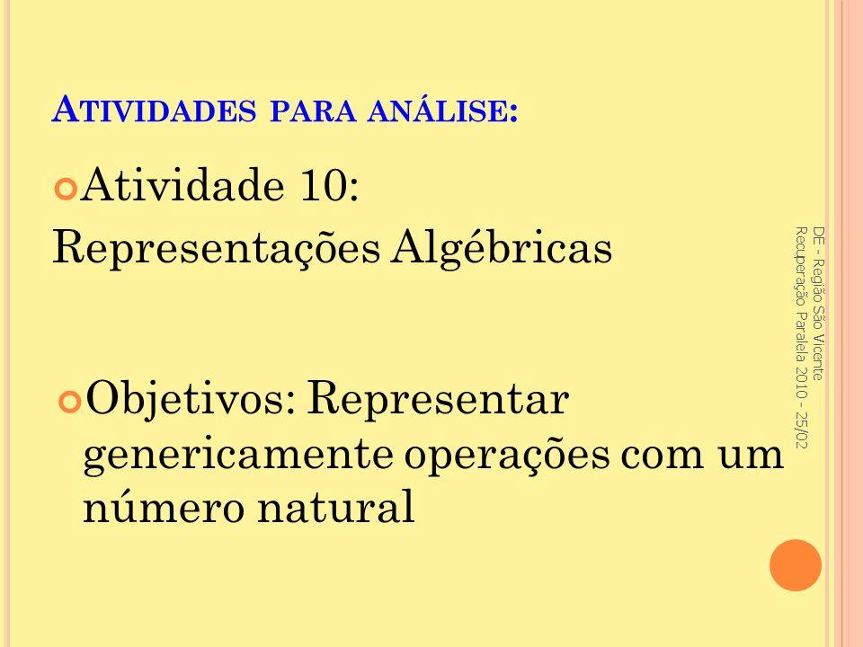 A TIVIDADES PARA ANÁLISE : Atividade 10: Representações Algébricas DE - Região São Vicente Recuperação Paralela 2010 - 25/02 Objetivos: Representar genericamente operações com um número natural