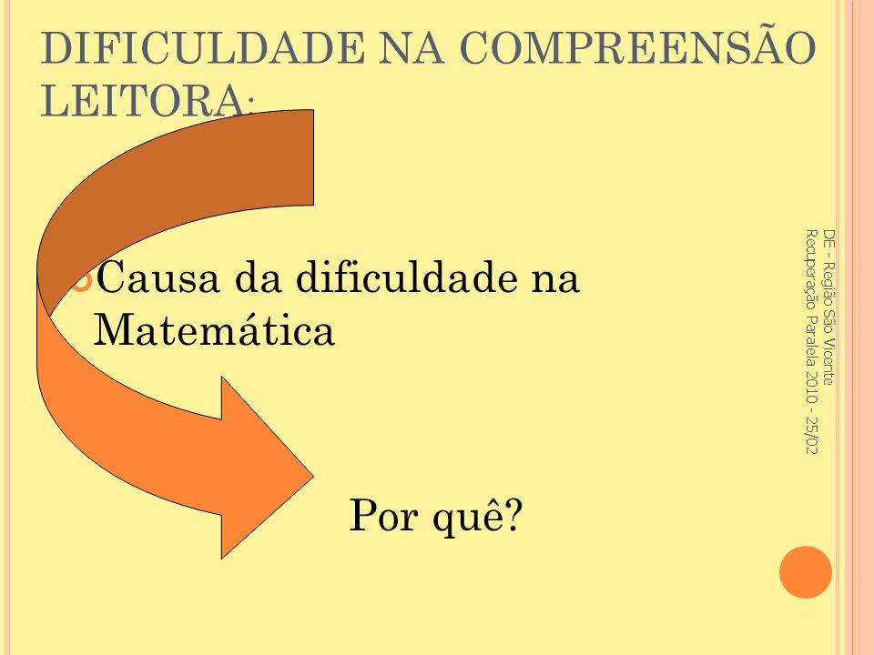 DIFICULDADE NA COMPREENSÃO LEITORA : Causa da dificuldade na Matemática Por quê.