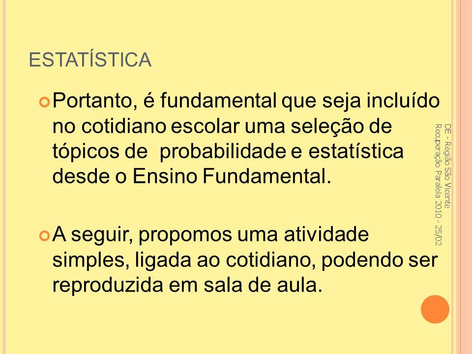 ESTATÍSTICA Portanto, é fundamental que seja incluído no cotidiano escolar uma seleção de tópicos de probabilidade e estatística desde o Ensino Fundamental.
