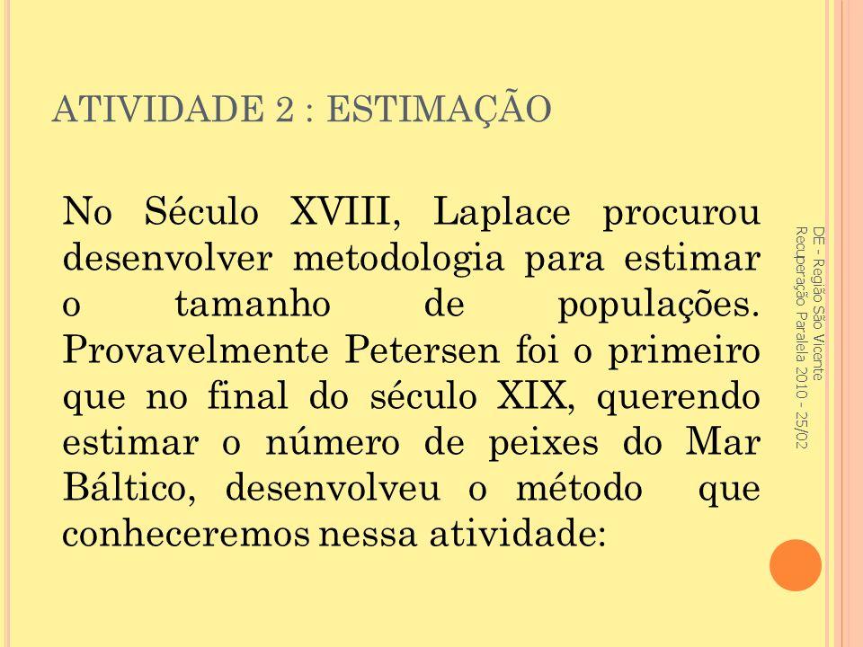 ATIVIDADE 2 : ESTIMAÇÃO No Século XVIII, Laplace procurou desenvolver metodologia para estimar o tamanho de populações.