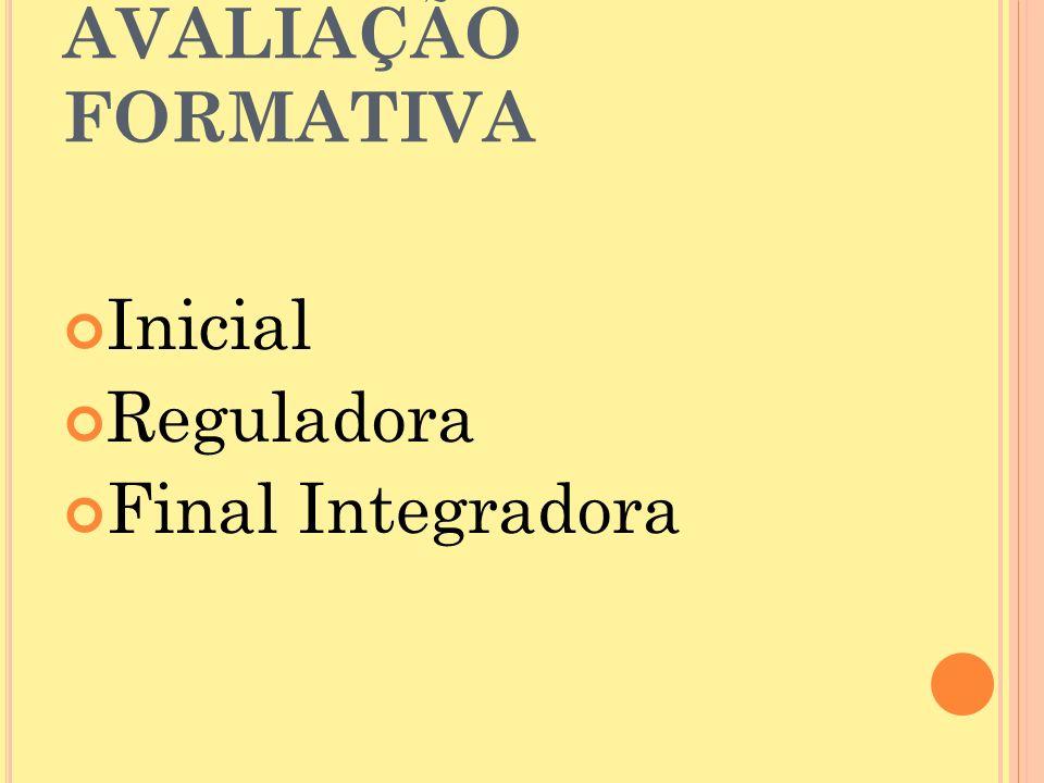 AVALIAÇÃO FORMATIVA Inicial Reguladora Final Integradora