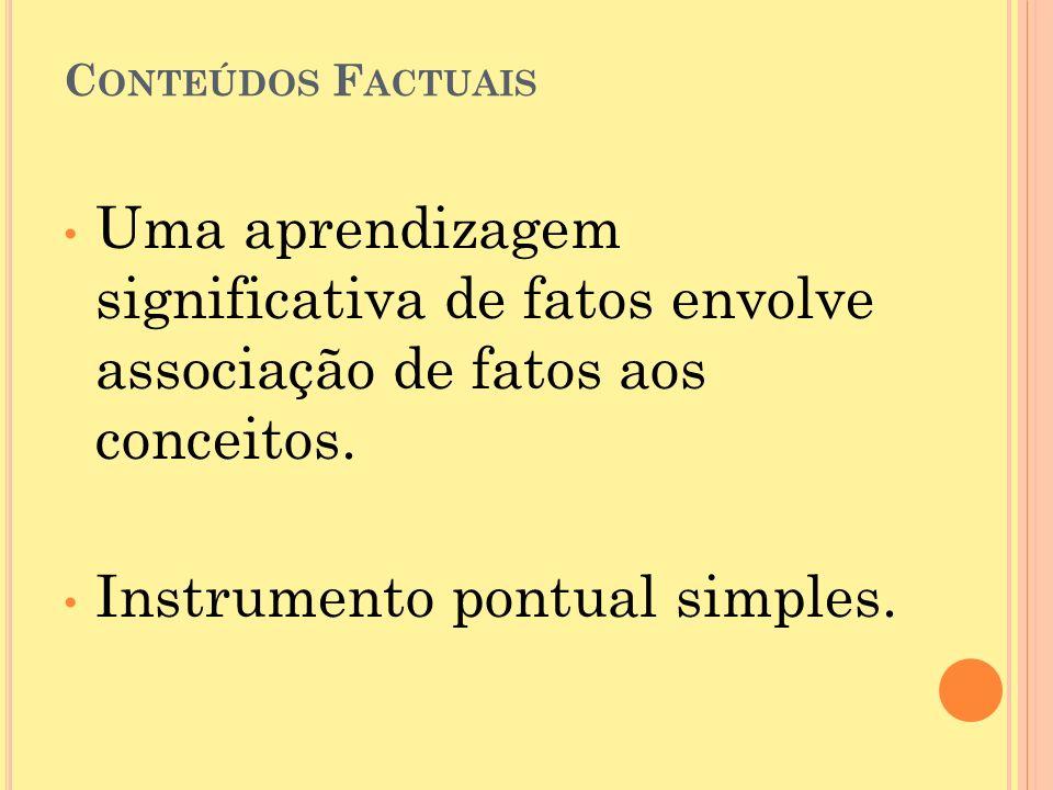 C ONTEÚDOS F ACTUAIS Uma aprendizagem significativa de fatos envolve associação de fatos aos conceitos.