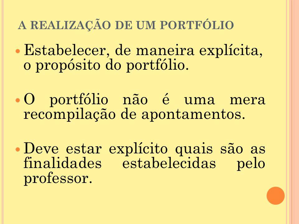 A REALIZAÇÃO DE UM PORTFÓLIO Estabelecer, de maneira explícita, o propósito do portfólio.