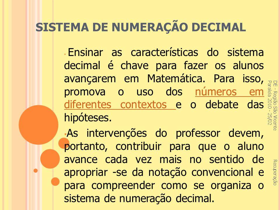 REPRESENTAÇÕES ALGÉBRICAS DE - Região São Vicente Recuperação Paralela 2010 - 25/02