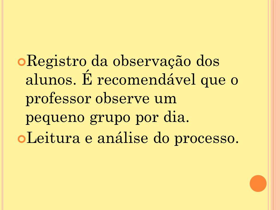 Registro da observação dos alunos.É recomendável que o professor observe um pequeno grupo por dia.