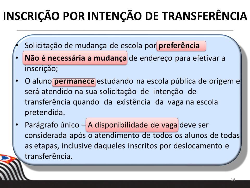 INSCRIÇÃO POR INTENÇÃO DE TRANSFERÊNCIA 14 Solicitação de mudança de escola por preferência Não é necessária a mudança de endereço para efetivar a ins