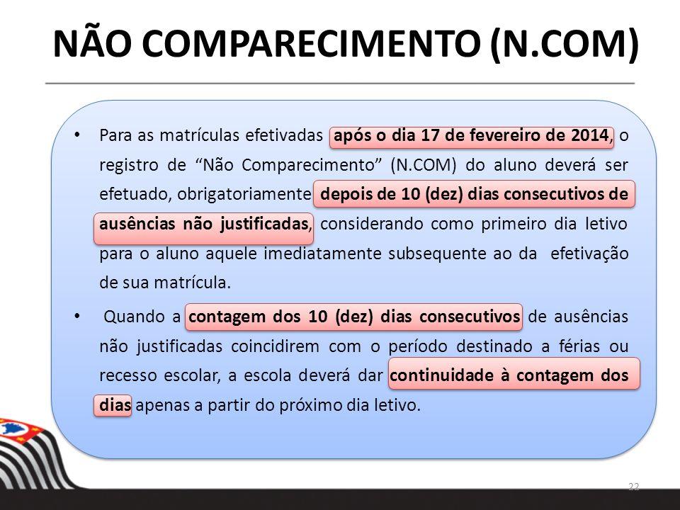 NÃO COMPARECIMENTO (N.COM) Para as matrículas efetivadas após o dia 17 de fevereiro de 2014, o registro de Não Comparecimento (N.COM) do aluno deverá