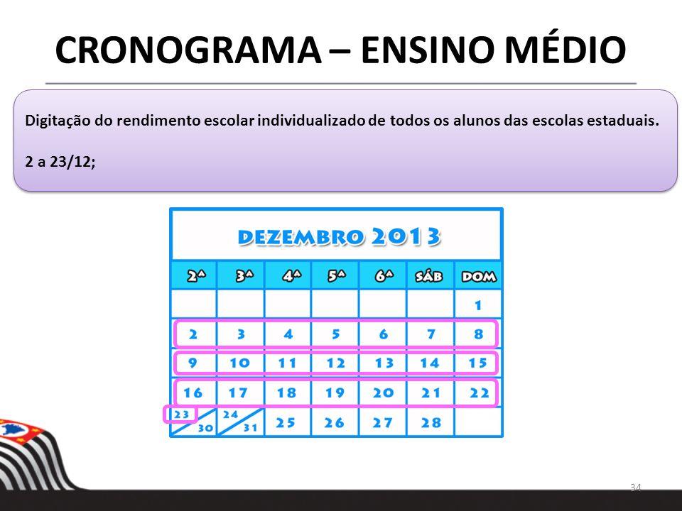34 CRONOGRAMA – ENSINO MÉDIO Digitação do rendimento escolar individualizado de todos os alunos das escolas estaduais. 2 a 23/12; Digitação do rendime