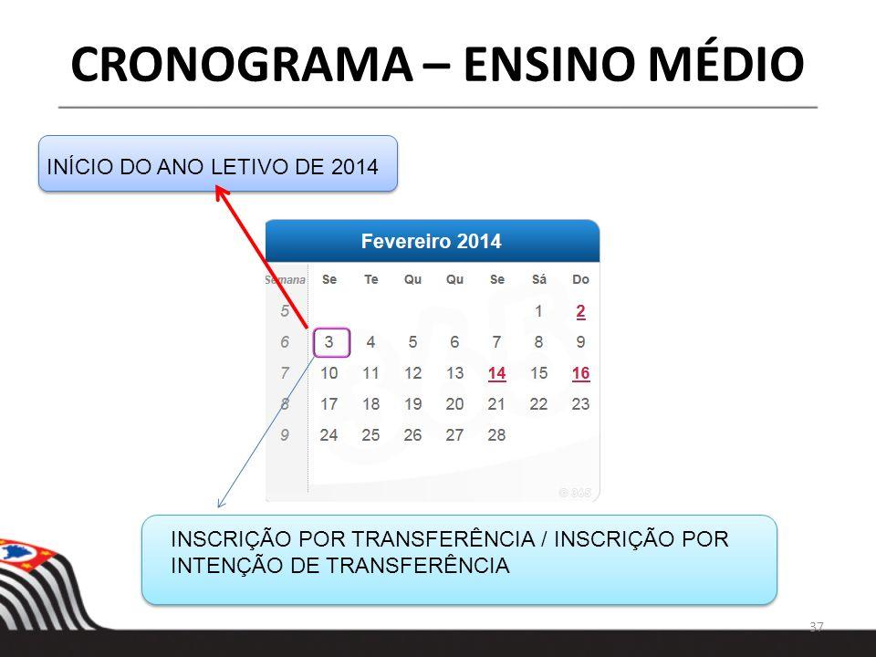 37 INÍCIO DO ANO LETIVO DE 2014 INSCRIÇÃO POR TRANSFERÊNCIA / INSCRIÇÃO POR INTENÇÃO DE TRANSFERÊNCIA CRONOGRAMA – ENSINO MÉDIO