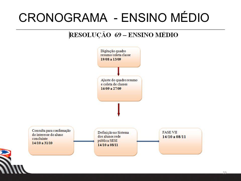 39 CRONOGRAMA - ENSINO MÉDIO