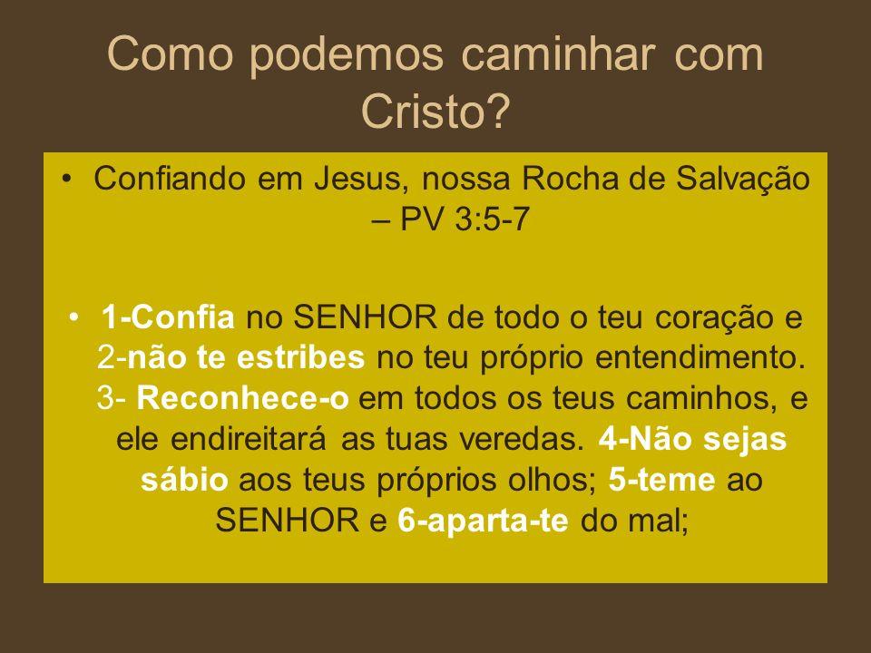 Como podemos caminhar com Cristo? Confiando em Jesus, nossa Rocha de Salvação – PV 3:5-7 1-Confia no SENHOR de todo o teu coração e 2-não te estribes