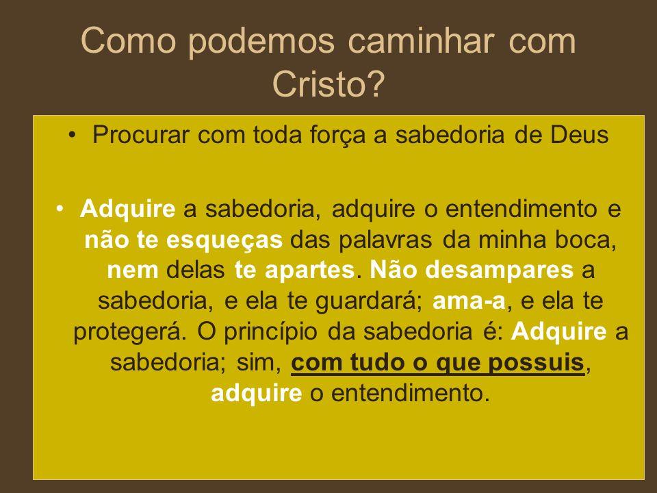 Como podemos caminhar com Cristo? Procurar com toda força a sabedoria de Deus Adquire a sabedoria, adquire o entendimento e não te esqueças das palavr
