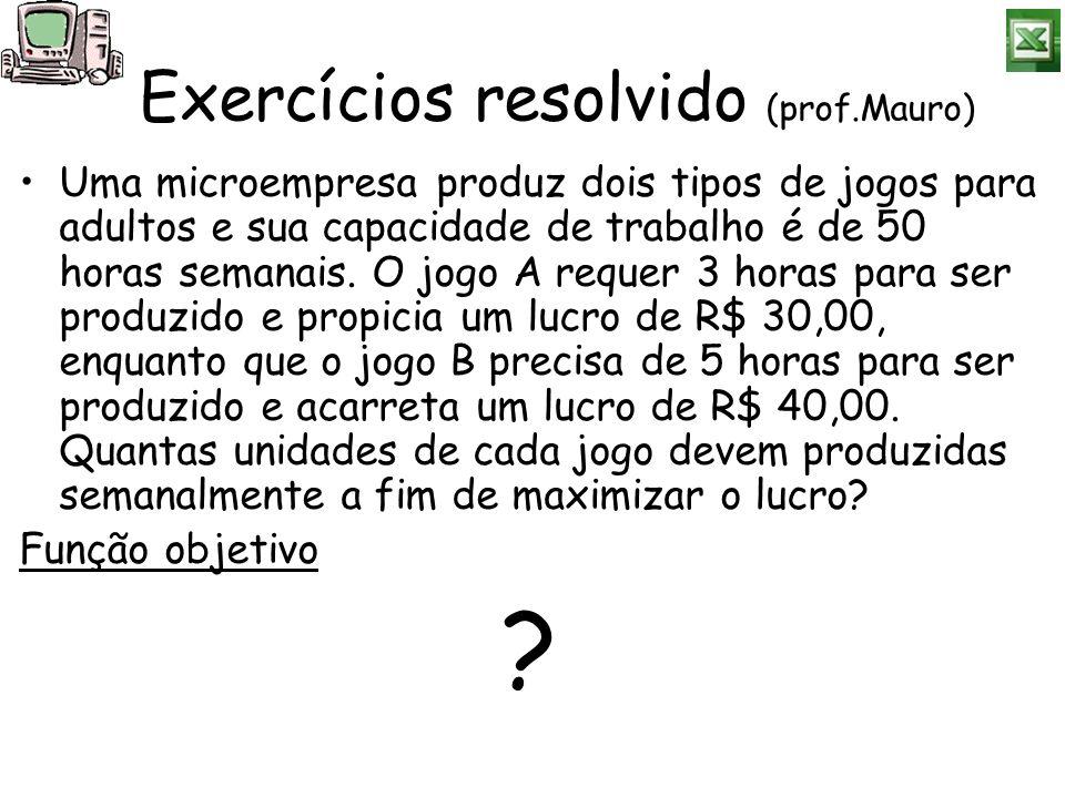 Exercícios resolvido (prof.Mauro) Uma microempresa produz dois tipos de jogos para adultos e sua capacidade de trabalho é de 50 horas semanais. O jogo