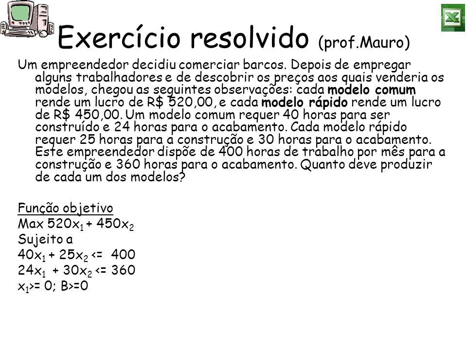 Exercício resolvido (prof.Mauro) Um empreendedor decidiu comerciar barcos. Depois de empregar alguns trabalhadores e de descobrir os preços aos quais