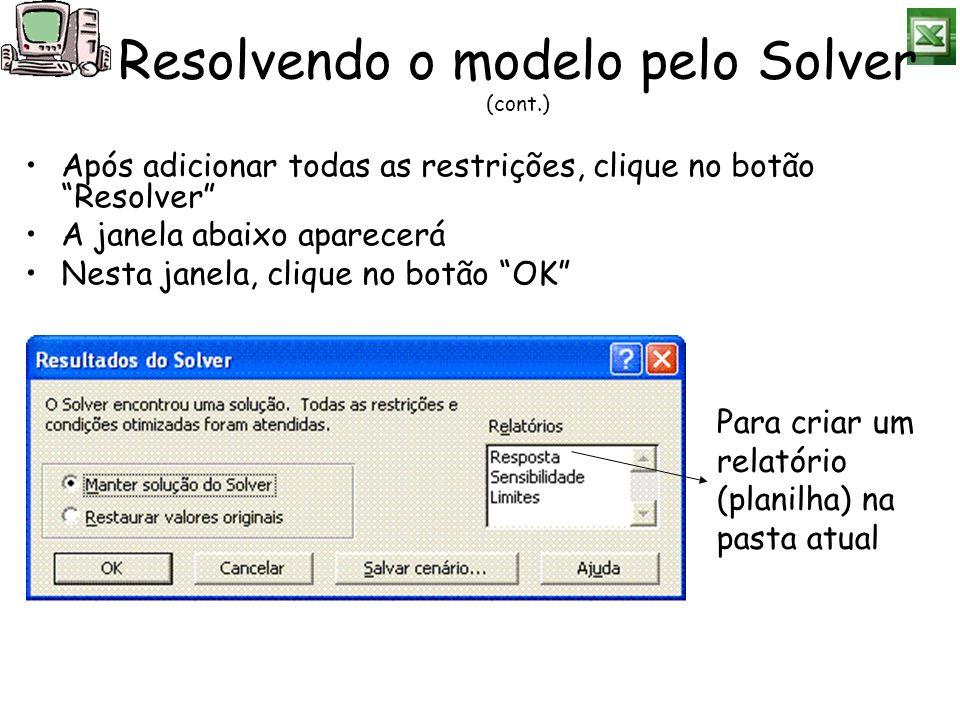 Após adicionar todas as restrições, clique no botão Resolver A janela abaixo aparecerá Nesta janela, clique no botão OK Resolvendo o modelo pelo Solve