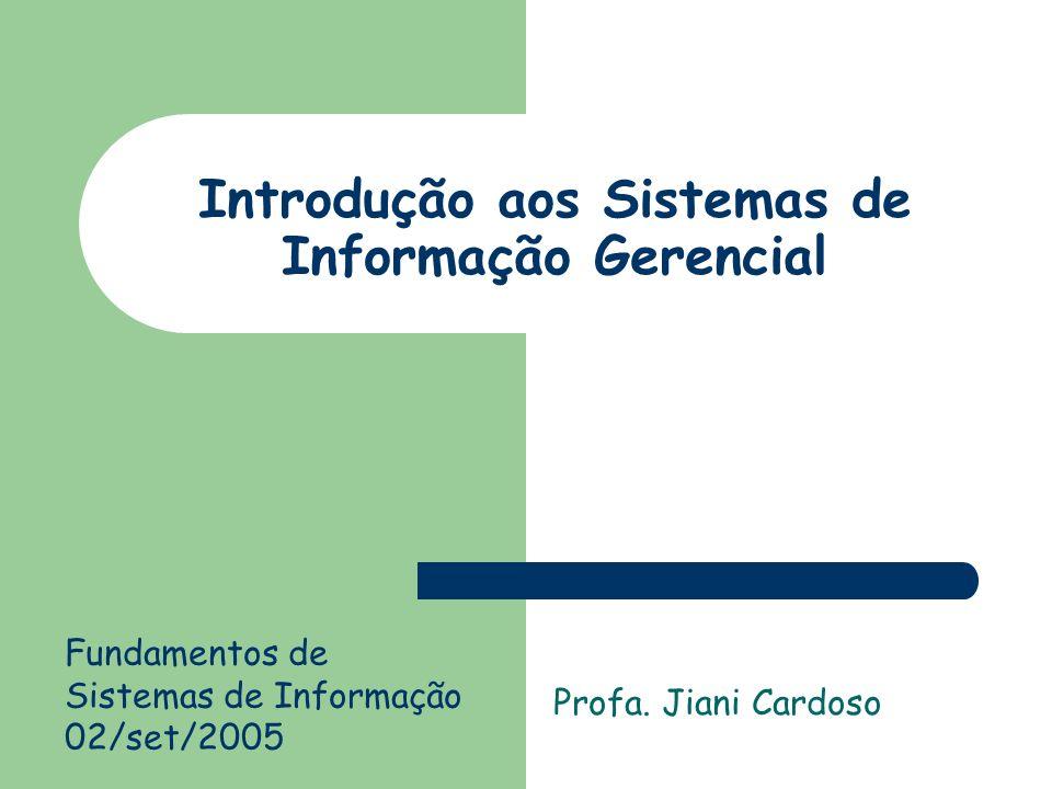 Introdução aos Sistemas de Informação Gerencial Profa.