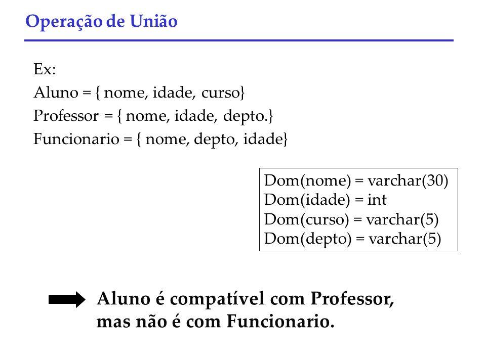 Dom(nome) = varchar(30) Dom(idade) = int Dom(curso) = varchar(5) Dom(depto) = varchar(5) Aluno é compatível com Professor, mas não é com Funcionario.