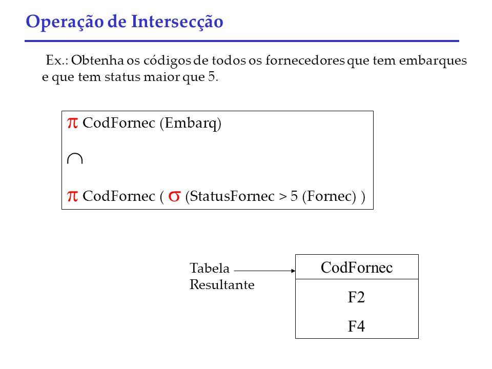 Ex.: Obtenha os códigos de todos os fornecedores que tem embarques e que tem status maior que 5. Operação de Intersecção CodFornec (Embarq) CodFornec