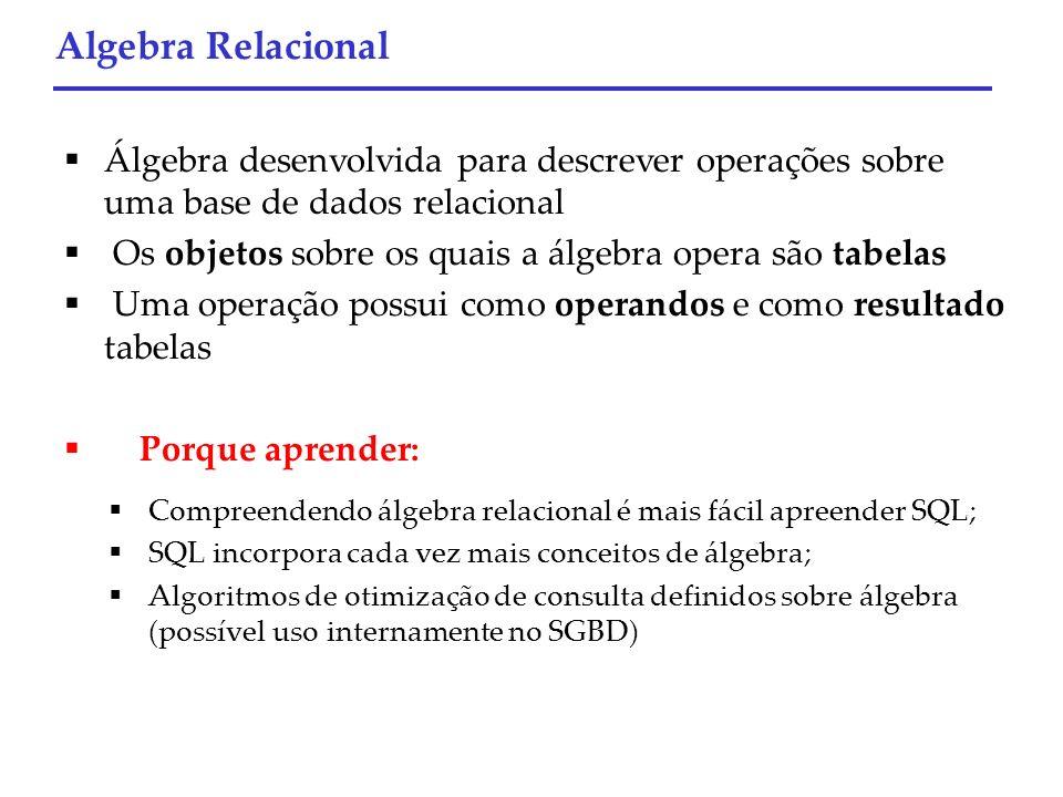 Compreendendo álgebra relacional é mais fácil apreender SQL; SQL incorpora cada vez mais conceitos de álgebra; Algoritmos de otimização de consulta de
