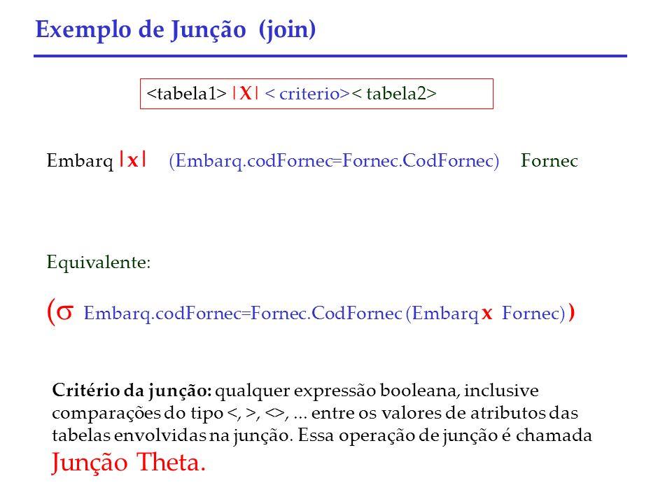 Exemplo de Junção (join) Embarq |x| (Embarq.codFornec=Fornec.CodFornec) Fornec Equivalente: ( Embarq.codFornec=Fornec.CodFornec (Embarq x Fornec) ) |X