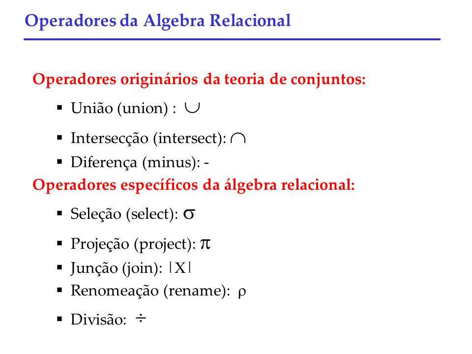 Operadores originários da teoria de conjuntos: União (union) : Intersecção (intersect): Diferença (minus): - Operadores específicos da álgebra relacio