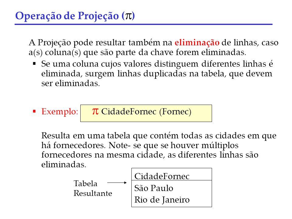 A Projeção pode resultar também na eliminação de linhas, caso a(s) coluna(s) que são parte da chave forem eliminadas. Se uma coluna cujos valores dist