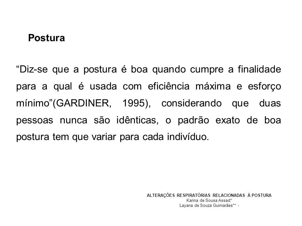 Diz-se que a postura é boa quando cumpre a finalidade para a qual é usada com eficiência máxima e esforço mínimo(GARDINER, 1995), considerando que dua