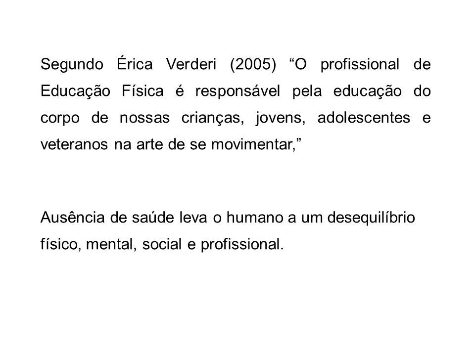 Segundo Érica Verderi (2005) O profissional de Educação Física é responsável pela educação do corpo de nossas crianças, jovens, adolescentes e veteran