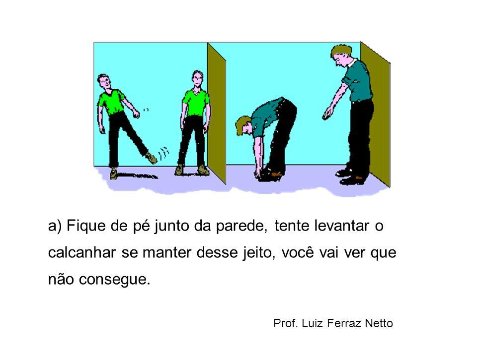 a) Fique de pé junto da parede, tente levantar o calcanhar se manter desse jeito, você vai ver que não consegue. Prof. Luiz Ferraz Netto