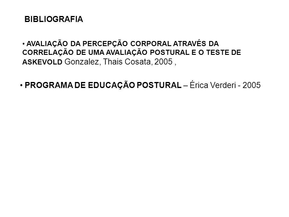 AVALIAÇÃO DA PERCEPÇÃO CORPORAL ATRAVÉS DA CORRELAÇÃO DE UMA AVALIAÇÃO POSTURAL E O TESTE DE ASKEVOLD Gonzalez, Thais Cosata, 2005, PROGRAMA DE EDUCAÇ