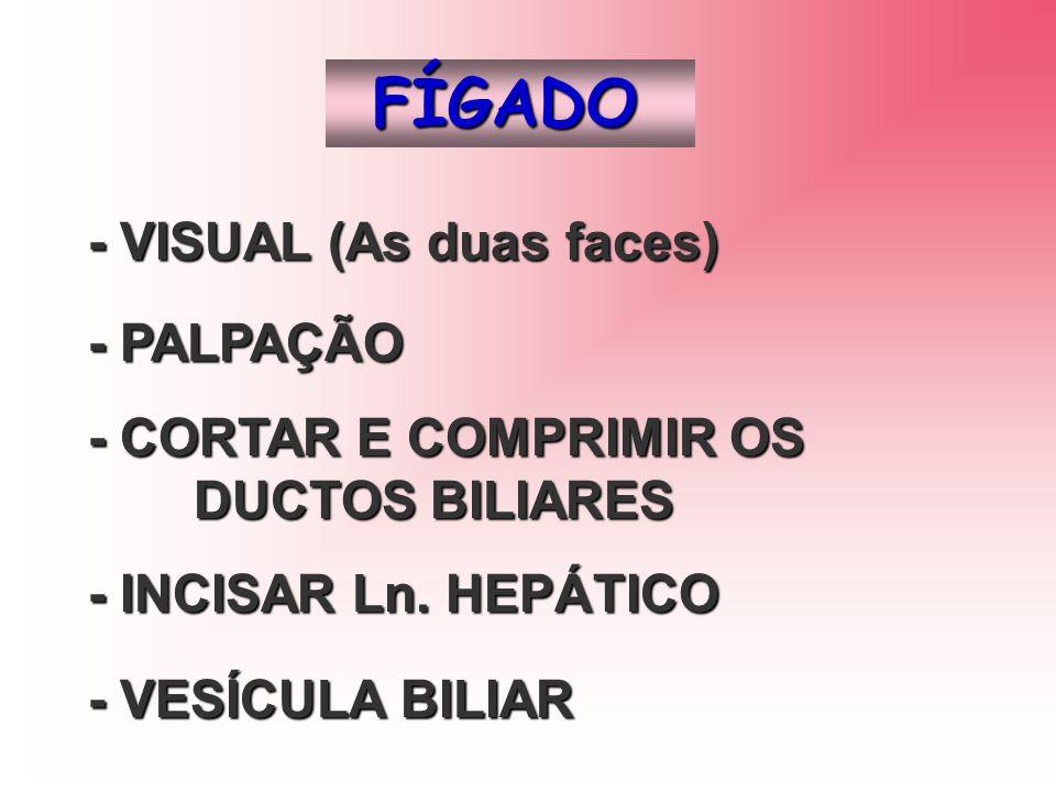 FÍGADO - VISUAL (As duas faces) - PALPAÇÃO - CORTAR E COMPRIMIR OS DUCTOS BILIARES - INCISAR Ln. HEPÁTICO - VESÍCULA BILIAR