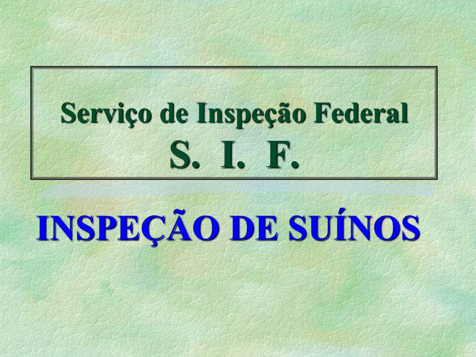 Serviço de Inspeção Federal S. I. F. INSPEÇÃO DE SUÍNOS