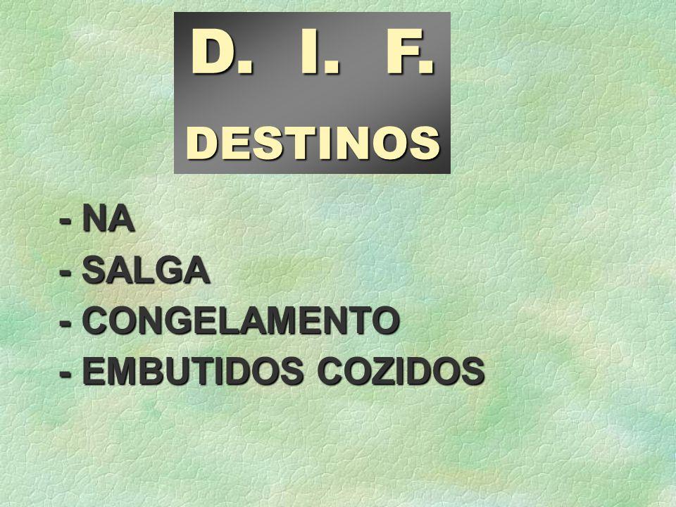 D. I. F. DESTINOS - NA - SALGA - CONGELAMENTO - EMBUTIDOS COZIDOS